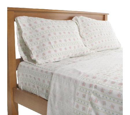 northern nights posy stripe 100 cotton flannel sheet set. Black Bedroom Furniture Sets. Home Design Ideas