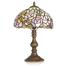 Tiffany Style Pink Rose & Leaf Design Table Lamp