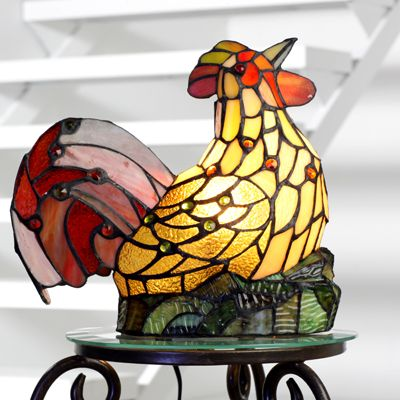 Tiffany Style Handcrafted Jewelled Rooster Novelty Lamp   QVC UK