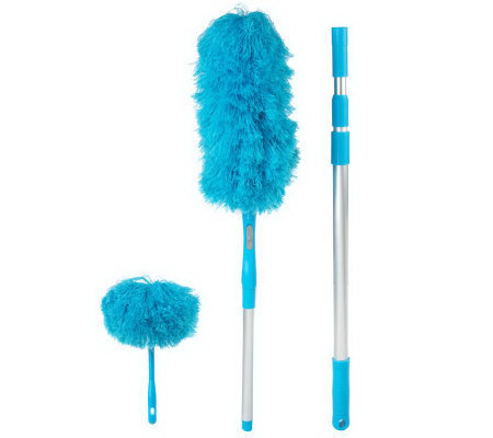 Don Aslett's 3-piece Microfiber Duster Set with Extension Pole