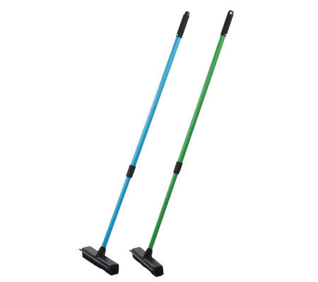 Don Aslett's Set of 2 Indoor/Outdoor Telescoping Rubber Brooms