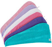 Set of 6 Solid 100Cotton Turbie Twist Hair Towels - V35013