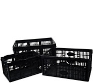 Clever Crates Set of 3 Collapsible Multi-Use Storage Crates - V32714