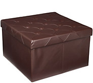 FHE Square 30 Oversized Faux Leather Storage Ottoman - V35424