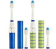 Pursonic Set of 2 Sonic Travel Toothbrushes & 4 Brush Heads - V33525