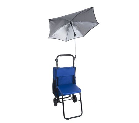 rest n roll multipurpose cart with seat and umbrella attachment