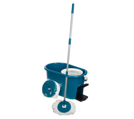 Fuller Brush Microfiber Rotating Mop w/ 2 Mop Heads and Spinner Bucket
