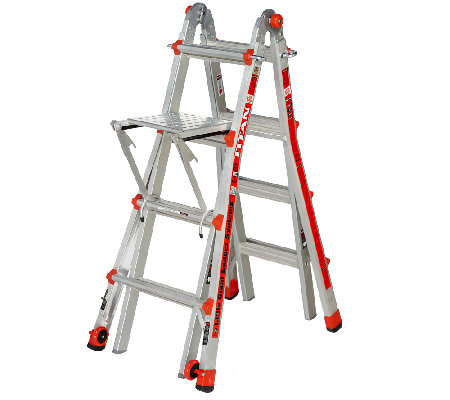 Giant 24 in 1 17 ladder with work platform and wheels qvc com