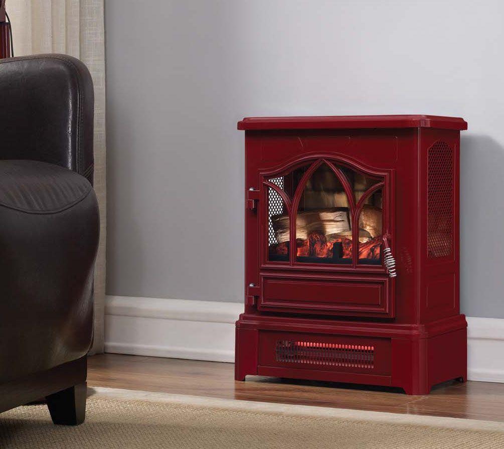 duraflame infrared pedestal base stove heater w 3d flame tech