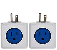PowerCube Set of 2 Outlet Adapters w/ 4 Outlets & 2 USB Ports - V33334