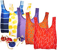 Kikkerland Set of 5 Reusable Shopping Bags with Pouches - V34738