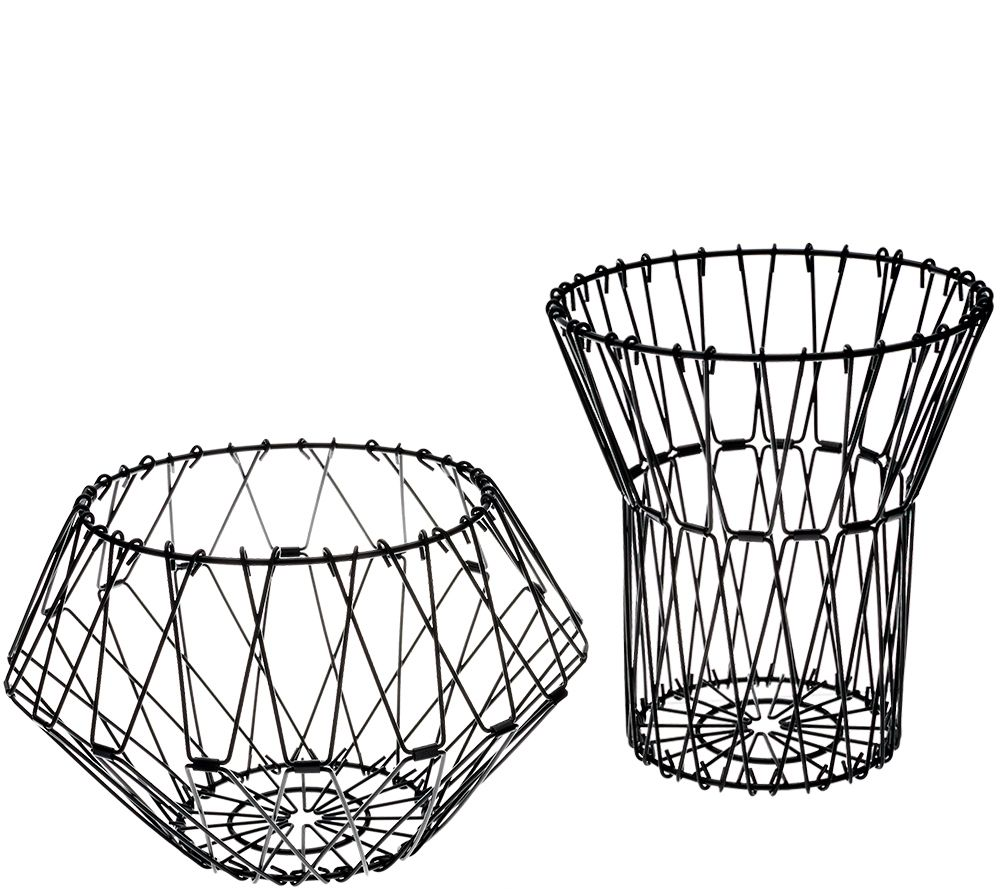 Set of 2 Folding Stainless Steel Wire Baskets by Kikkerland - Page 1 ...