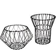 Set of 2 Folding Stainless Steel Wire Baskets by Kikkerland - V33446