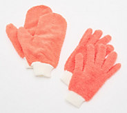 4 Piece Microfiber Dusting Gloves and Glass Cleaning Mitts - V34849