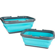 Kikkerland Set of 2 Large & Medium Collapsible Baskets - V35350