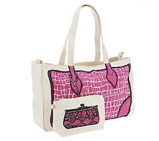 Product image of Jill Martin Crocodile Canvas Tote Bag with Clutch