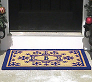 2 x 3 Outdoor Monogram Initial and Snowflakes Coir Doormat - V35052
