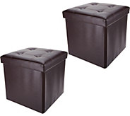 FHE Faux Leather S/2 15 Folding Ottomans with Wooden Tray - V34853