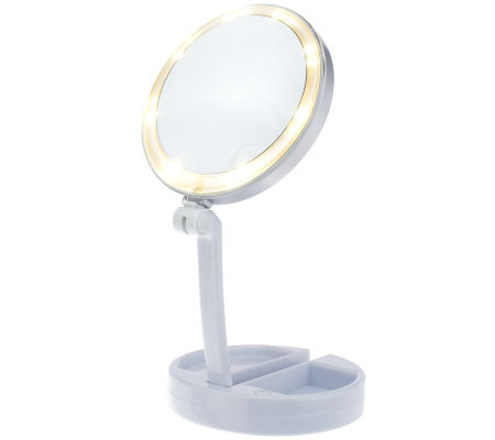 Floxite 10x 1x Lighted Folding Vanity Amp Travel Mirror