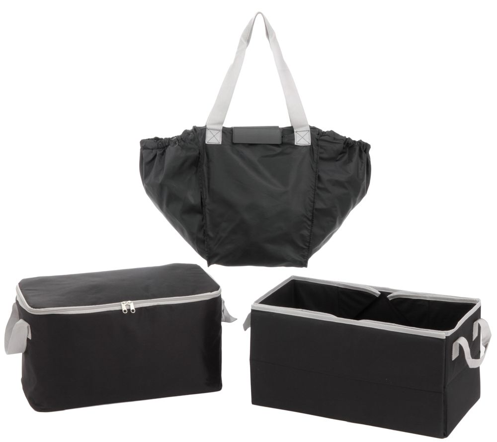 Secure Auto 3 Piece Trunk Organizer w/ 2in1 Shopping Tote