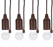 Set of 4 Hanging Light Bulb Pull Lights with Batteries - V35462