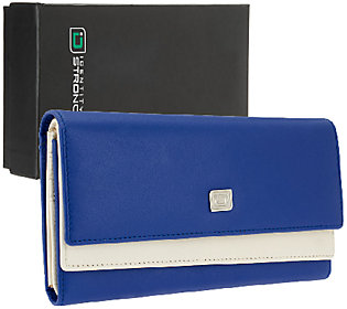 Product image of ID Stronghold Two-Tone Leather Clutch Wallet with RFID Protection