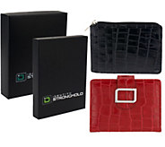 ID Stronghold Set of 2 Croco Leather Mini Wallets w/ RFID Protection - V33067