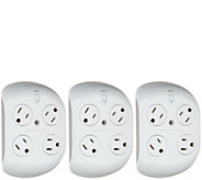 Revolve Set of 3 Surge Protectors with 4 Outlets - V34967