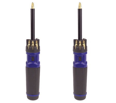 Set of 2 Ratcheting Screwdrivers w/Light and Pick-up Tool