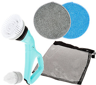 6 Pc Compact Cordless Power Scrubber with Cleaning Attachments