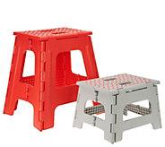 Kikkerland Set of 2 Easy-Fold Large & Small Step Stools - V35075