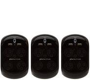 Revolve 3.4 Set of 3 Surge Protectors w/4 Outlets & 2 USB Ports - V34280