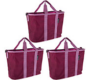 SnapBasket Set of 3 Foldable Market Totes with Straps - V35087