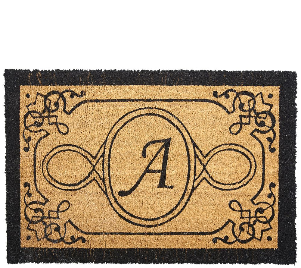 Handcrafted Monogrammed Initial 2'x3' Rectangle Coco Doormat - V33088 - Outdoor Rugs €� Rugs & Mats €� For The Home €� QVC.com