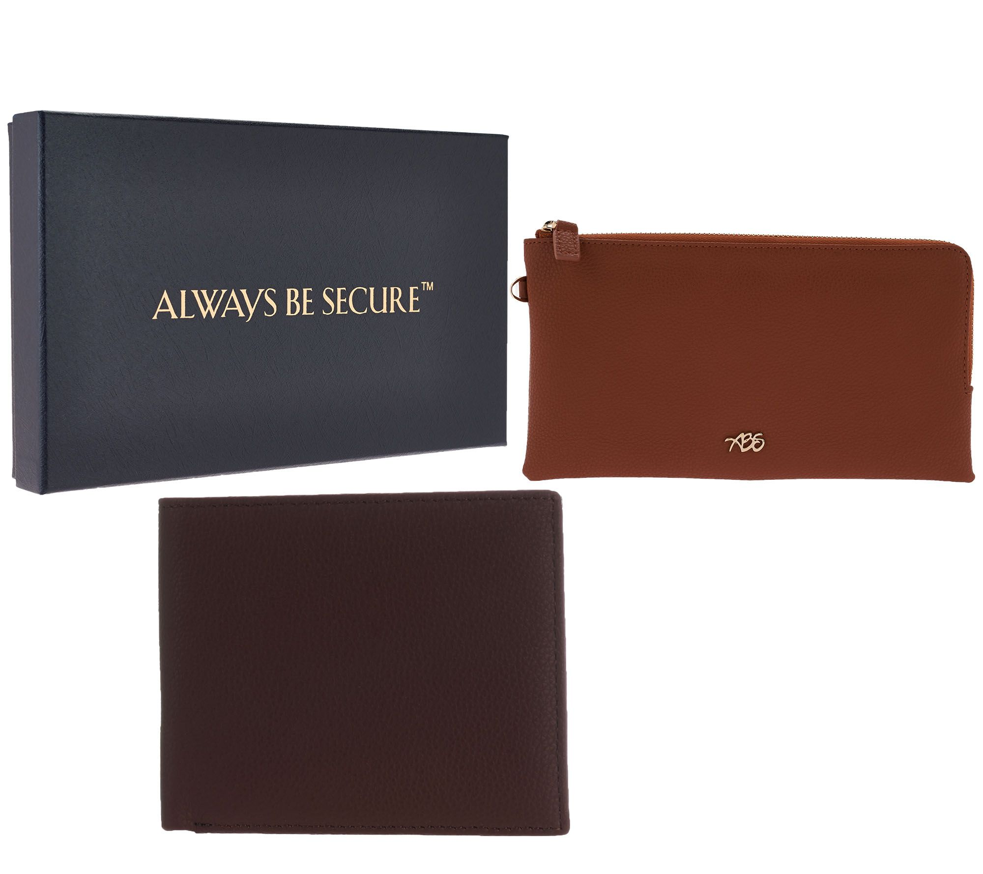 Always Be Secure RFID Leather Wristlet or Tri-Fold Wallet