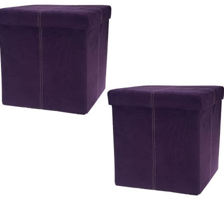 microsuede set of 2 15 folding storage ottomans by fhe v32390