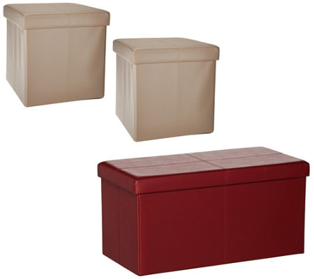 Faux Leather Folding 2 Pc Ottoman Set Or Storage Bench By