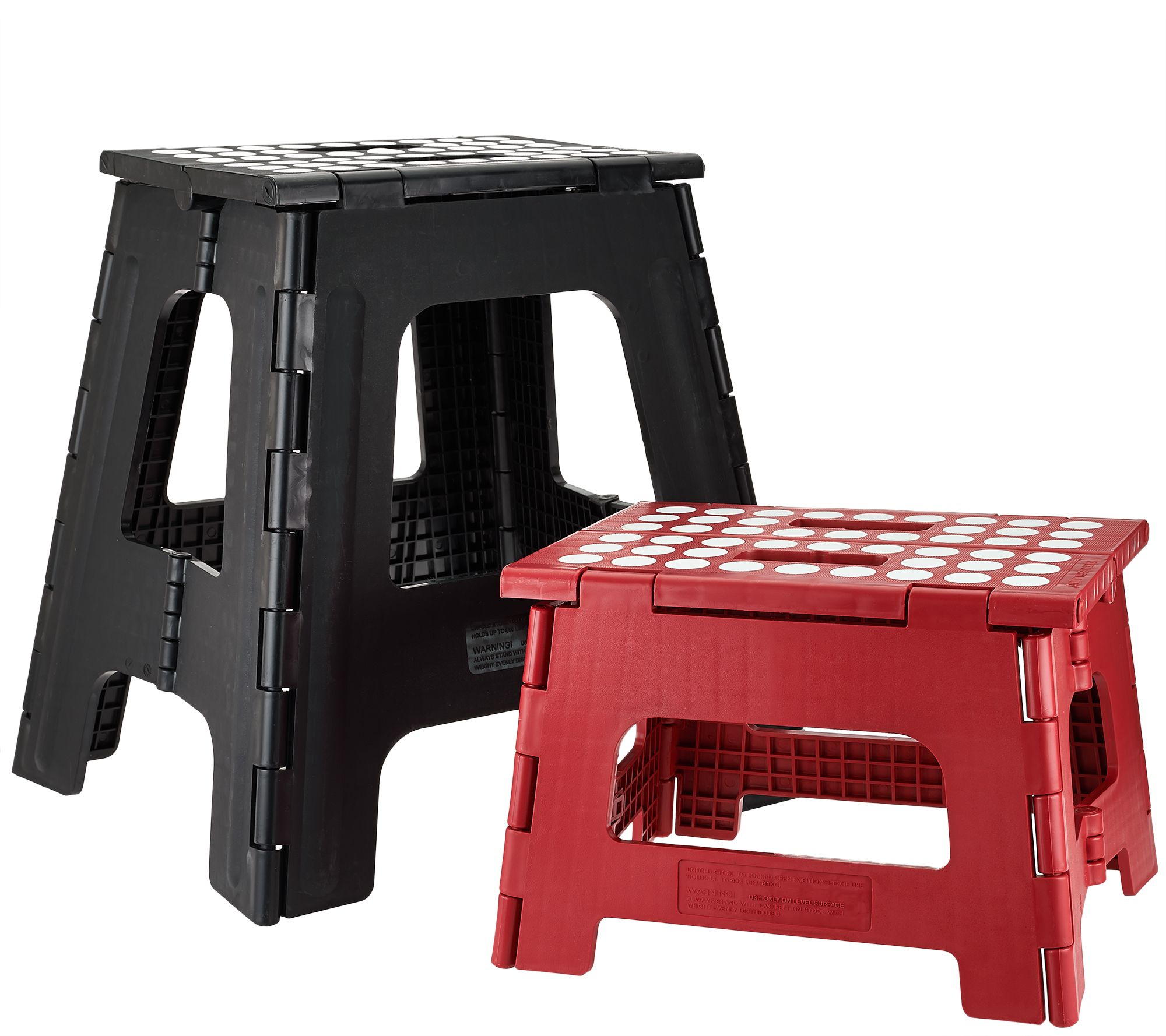 Kikkerland Large & Small Easy-Fold & Easy-Store Step Stools