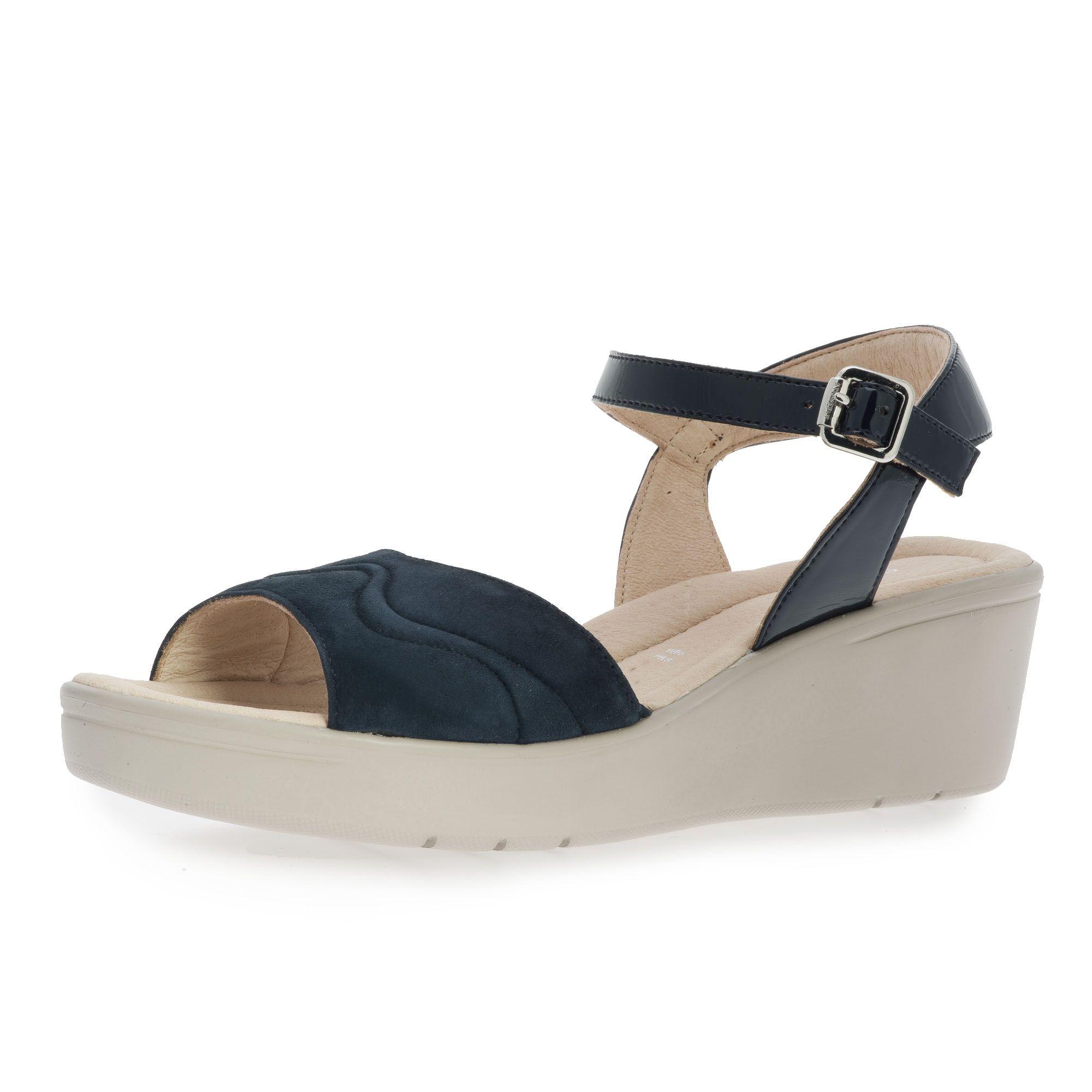 Sandalo in pelle con zeppa 5.5cm