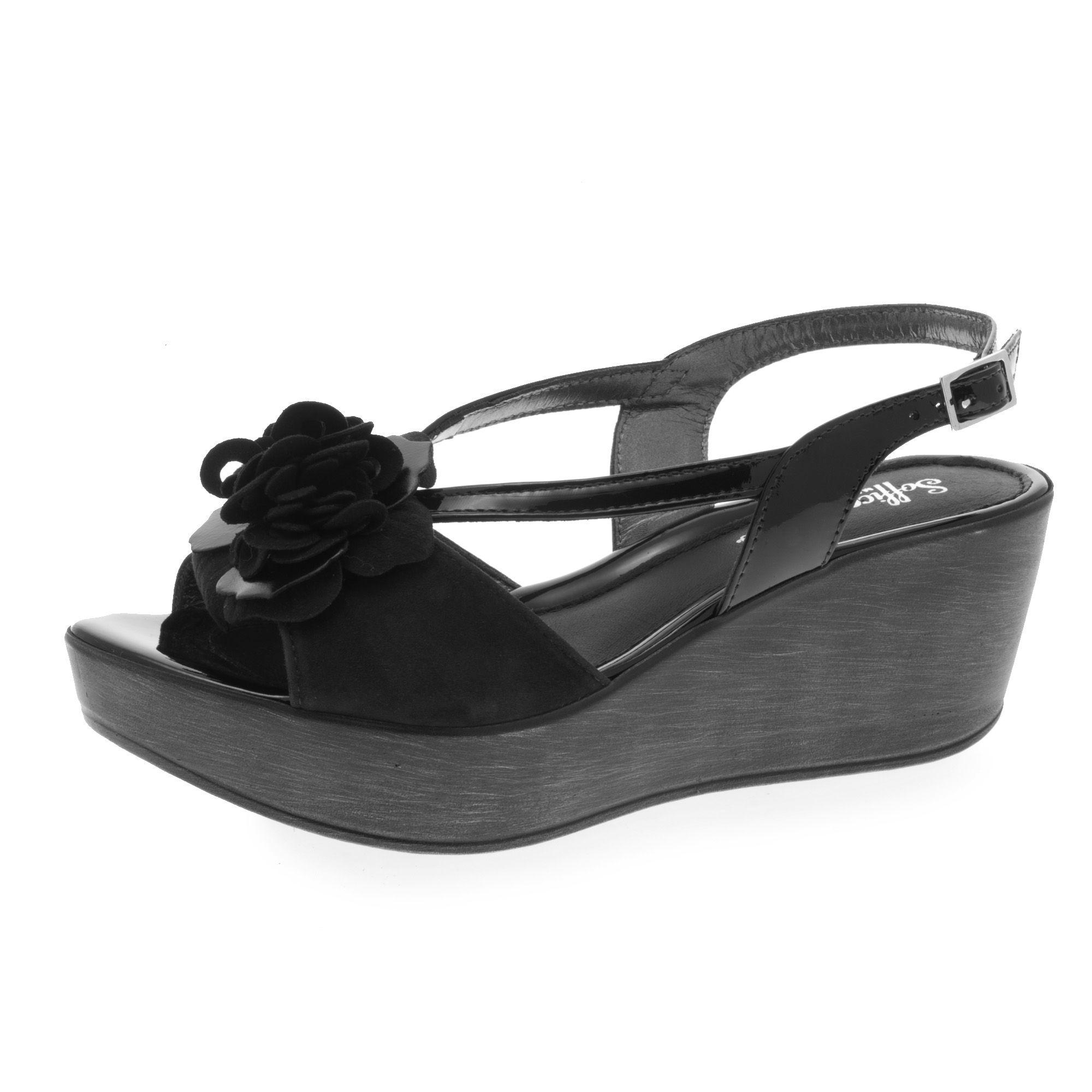 Sandalo in pelle con zeppa 6cm