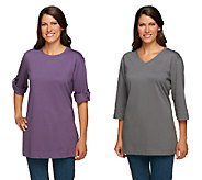 Denim & Co. Set of 2 Oversized Tunic Cotton T-shirts - A225000