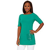 Joan Rivers Short Sleeve Tunic with Sequin Pocket - A264800