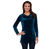 Susan Graver Stretch Velvet Long Sleeve Drape Neck Tunic - A270300