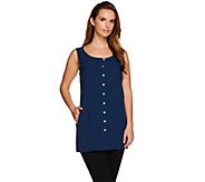 Linea by Louis DellOlio Sleeveless Button Front Top - A276300