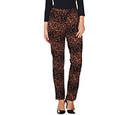 Women with Control Regular Leopard Flocked Ponte Knit Slim Leg Pants - A284100