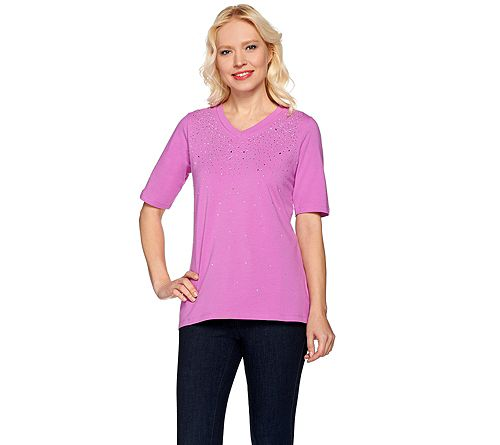"""""""As Is"""" Quacker Factory Be Jeweled Elbow SleeveT-shirt"""
