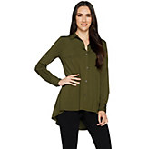 H by Halston Jet Set Jersey Button Front Knit Shirt - A288600