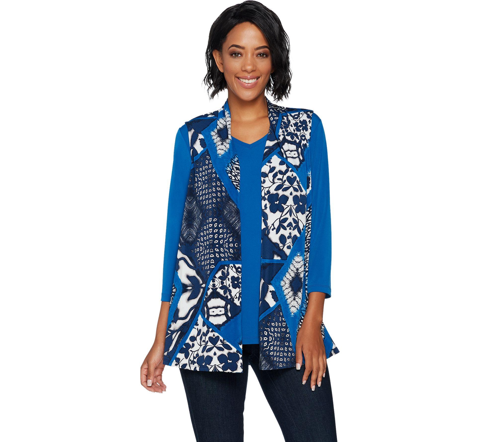 Kitchen Set Graver: Susan Graver Printed Liquid Knit Vest Set With Back