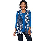 Susan Graver Printed Liquid Knit Vest Set with Back Buttons - A292300