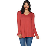 LOGO by Lori Goldstein Solid Swing Top w/ Front and Back V-Necks - A292800